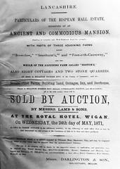 Notice of Bispham Hall Estate auction, 24 May 1871 (The Makerfield Rambler) Tags: billinge bisphamhall