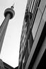 (mjaneroy) Tags: city blackandwhite toronto canada architecture skyscraper reflections cityscape cntower streetphotography