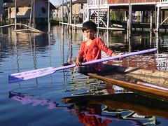 Living (willheighway) Tags: color water girl boat burma canoe myanmar