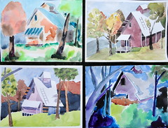 Landscape with house, all together - DSC07428 (Dona Mincia) Tags: sky tree art watercolor painting paper stair arte inspired cu study tribute escada homage rvore pintura homenagem releitura aquarela inspirado rereading frankwebb relecture landscapewithhouse paisagemcomcasa