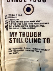 My Though Still Cling To (cowyeow) Tags: china silly shop asian hongkong clothing funny asia poetry poem dumb chinese wrong story engrish badsign stupid chinglish  causewaybay funnysign though cling fail badtranslation clothingshop funnychina funnyhongkong chinesetoenglish