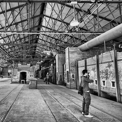 Photographic Moments (Jonavin) Tags: bw walkinthepark xt1 niksilverefexpro xf14 evergreenbrickwork
