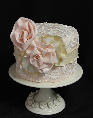 Piped Lace Vintage Fabric Flower Wedding Cake