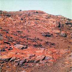 Blocking the View of the Crater (sjrankin) Tags: opportunity mars sand rocks edited nasa colorized dust rim craterrim endeavourcrater 28july2014 bands257