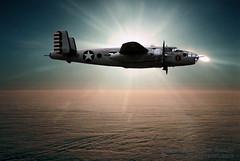 North American B-25 Mitchell in High Flight (Wernher Krutein) Tags: plane airplane flying aircraft aviation wwii flight piston ww2 airborne prop