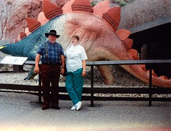 Mom and Dad and their dog Spot (sjrankin) Tags: mom dad dinosaur edited scanned dinosaurpark june1996 14july2014