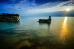 Sunny dawn (forceberg) Tags: sea summer holiday water rock stone greek bay ca