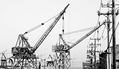 cranes (eb78) Tags: sf sanfrancisco california ca blackandwhite bw monochrome industrial decay grayscale dogpatch greyscale pier70