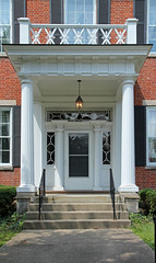 Entrance, Henry Stanbery House  Lancaster, OH (Pythaglio) Tags: county door windows ohio house storm brick stone early columns steps entrance frieze 66 historic sidewalk doorway henry porch shutters lancaster bond mansion railing residence bushes flemish carvings fairfield doric balustrade transom capitals cornice detailing dwelling fluted pilasters sills lintels sidelights trabeated stanbery ca1835