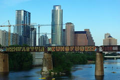 Ausin downtown (Magda of Austin) Tags: bridge summer buildings austin river downtown texas skyscrapers coloradoriver townlake waterfun kayaks tallbuildings paddleboards paddleboarding ladybirdlake