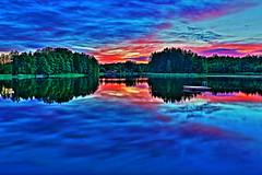 Vrdns (bobban25) Tags: longexposure sunset lake reflection tree water canon eos sweden norden sverige scandinavia vatten hdr linkping sj vrdns 18135 70d canonefs18135
