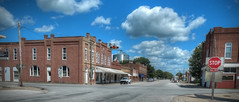 Streets of Bowen, IL (Bob G. Bell) Tags: city clouds illinois midwest stopsign bowen townruralcountry