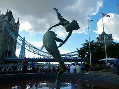dancing with dolphins (helenoftheways) Tags: uk sculpture david london fountain freeassociation thames artwork dolphin flag statues wynne