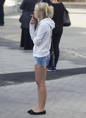 Smoking Girl (Steffe) Tags: girl legs candid smoking blonde denimshorts jeansshorts