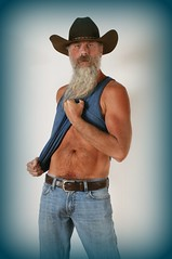 In Blues (Cowboy Tommy) Tags: portrait hairy hot sexy muscles sex fur beard goatee belt bush model furry cowboy arms fuzzy muscle blueeyes chest manly tan handsome crotch waist western tanktop suntan denim mustache tight levis cowboyhat bellybutton package buckle pubes pubichair rugged bulge selfie lanky lowrise treasuretrail silverdaddy
