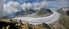 Aletsch Glacier Panorama (ladigue_99) Tags: alps switzerland nuvole suisse hiking hike cairns alpen svizzera gletscher alpi cloudscape ghiacciaio eggishorn fiesch fiescheralp aletschglacier bernesealps ometti ladigue99 cantonofvalais alpibernesi cantonvallese