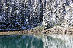 The Colors of Mirror Lake (JB by the Sea) Tags: distortion snow canada reflection rockies mirrorlake alberta banff rockymountains lakelouise banffnationalpark canadianrockies september2014