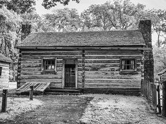 Henry Onstot (Larry Senalik) Tags: bw white black four illinois log cabin olympus abraham micro lincoln infrared thirds 2014 newsalem epl5