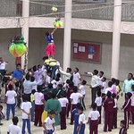 students breaking  dahihandi