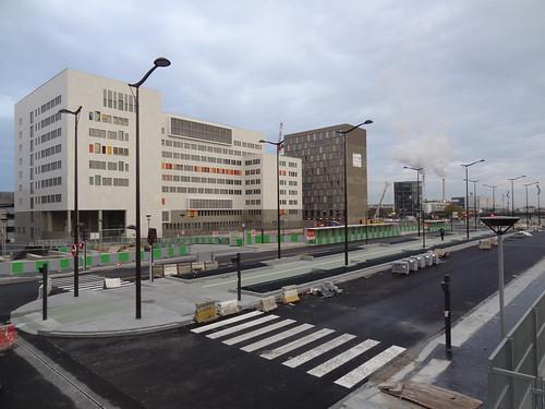 Travaux de création d'un couloir de bus en site propre