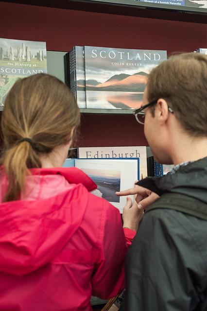 Bookshop browsing at the Edinburgh International Book Festival
