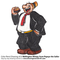 J. Wellington Wimpy from Popeye the Sailor with Color Pencils (drawingtutorials101.com) Tags: j wellington wimpy popeye sailor cartoons tv animated e c segar sketch sketches sketching pencil draw drawing drawings how color coloring