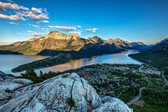 Waterton Lakes National Park (Brian Krouskie) Tags: waterton lakes park alberta canada mountain rock town bear hump summit buildings sunset trees sky clouds landscape outdoor