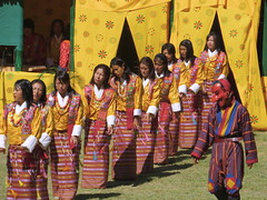 local zhundra dancers (cam17) Tags: bhutan kira armycamp tsechu rachu wonju bhutanfestival wangduefestival localdancers regionalfestival ruralfestival wangduetsechu rachusash kiraskirt rachublouse zhundradancers