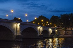 (Catalina A. Bernal) Tags: bridge light sculpture paris reflection water night puente day structure seineriver
