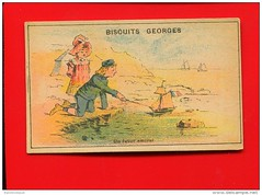 French trade card (oldsailro) Tags: park old boy sea summer people sun lake playing beach water pool girl sunshine youth sailboat race vintage children fun toy boat miniature wooden pond model waves sailing ship time yacht antique group boom mast hull keel