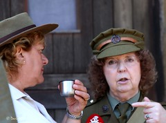 Haworth 1940's Weekend 2014 - IMG_0049 (grab a shot) Tags: uk england woman canon vintage soldier army eos war uniform military yorkshire wwii 1940s 7d ww2 reenactment westyorkshire homefront worldwar2 oldfashioned haworth livinghistory 2014 warweekend brontecountry landarmy haworth1940sweekend
