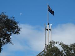 The Moon and the Flag (spelio) Tags: house garden bush walk australian parliament canberra act 2014 australiancapitalterritory