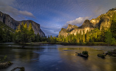 Gates Of The Valley At Golden Hour (WJMcIntosh) Tags: yosemite elcapitan goldenhour valleyview bridalveilfall sunrset ribbonfall gatesofthevalley