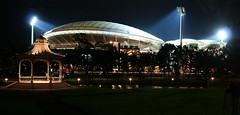 The Old and the New - Adelaide Oval By Night_1315_1317 (Rikx) Tags: new old light night contrast dark nightshot stadium explore adelaide rotunda southaustralia oval adelaideoval elderpark elderparkrotunda adelaideovalstadium