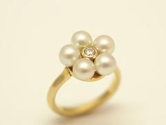 ベビーパールのリング 4mm size baby Akoya pearl Ring (jewelrycraft.kokura) Tags: diamond pearl 2years akoya 4mm k18 babypearl ダイヤ イエローゴールド ベビーパール