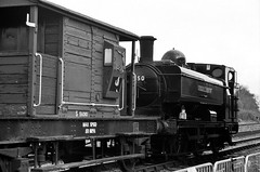 L-92 London Transport Pannier 0-6-0PT, Swithlands, 10th May 2014 (OG47) Tags: film blackwhite railway locomotive steamengine londontransport freighttrain steamlocomotive agfaapx100 greatcentralrailway gcr brakevan pentaxsupera railwaylocomotive uksteam 060pt l92 smcpentaxm80200mmf45
