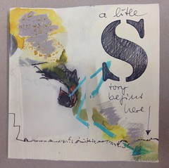 a litle story begins here - an artist book (Ellen Ribbe) Tags: blue orange black art yellow collage painting drawing mixedmedia kunst artistbook paperworks knstlerbuch
