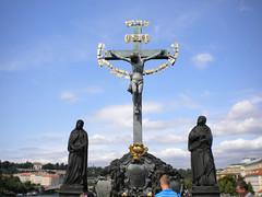 Statue on Charles Bridge - Prague, Czech Republic (jim324w) Tags: travel bridge vacation europe czech prague charles charlesbridge 2011 europe2011