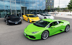 Huracan Party. (Alex Penfold) Tags: white black green cars alex car germany stuttgart huracan super yelow autos lamborghini supercar supercars lambo penfold 2014 motorworld