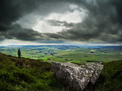Tap O' Noth (My TVC 15) Tags: uk travel sculpture storm man scale stone scotland countryside europe aberdeenshire unitedkingdom hill valley figure fields eurotrip patchwork drama dramaticsky epic summervacation fisheyelens hillwalking rhynie taponoth freetoroam samyang75mm olympusomdem5