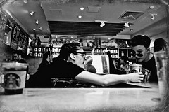 Frappuccino for Bill (Mike Stone Photography) Tags: street blackandwhite bw london starbucks