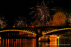 St. Istvans Day - Red (fesign) Tags: bridge light red party sky holiday black beauty night dark fire europe fireworks anniversary smoke budapest celebration event decorating glowing sparks pyrotechnics exploding august20 traditionalfestival