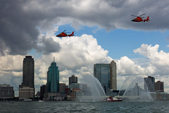 Fireboat and Escort Helicopters (samparadise) Tags: ocean nyc newyorkcity sky usa ny newyork water clouds america newjersey jerseycity downtown cityscape unitedstates manhattan