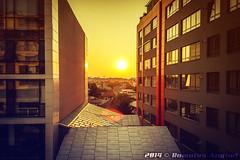 Sunrise between buildings (Romulus Anghel) Tags: city summer urban sun window nature colors sunrise buildings sunny lg romania bucharest bucuresti
