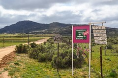 Between Kamieskroon and Leliefontein (jbdodane) Tags: africa bicycle cycletouring cycling cyclotourisme day654 kamieskroonleliefonteingariesroad northerncape road sign southafrica velo freewheelycom namaqualand namakwaland jbcyclingafrica