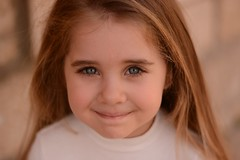 Angel (Chlouk) Tags: blue portrait lebanon girl beautiful smile face hair children nose kid eyes innocent blonde beirut