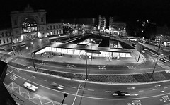 Budapest Night (- anTi -) Tags: city bw architecture night hotel blackwhite hungary budapest olympus fisheye magyarország épület feketefehér építészet club16 halszem e620 olympuse620