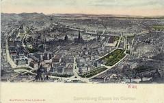 Wien: aerial view in B+W, with parks picked out in green | between 1865 and 1894 (Brigitte Rieser) Tags: vienna wien vintage postcard jardin historic vienne postkarte historique historisch cartepostale ansichtskarte