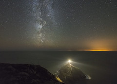 'Holyhead to Dublin, Occasionally Beyond...' - South Stack, Anglesey (Kristofer Williams) Tags: longexposure sea sky dublin lighthouse seascape wales night stars landscape coast nightscape cliffs clear galaxy headland lightpollution milkyway irishsea anglesey holyhead southstack ynyslawd spiralarm