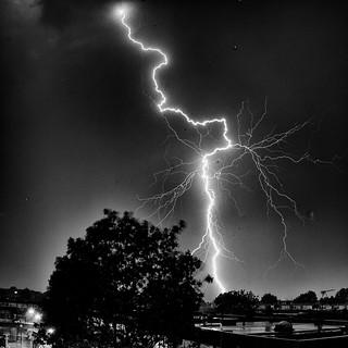 Lightning in BW.